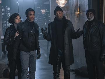 This image released by Warner Bros. Pictures shows from left, Alexandra Shipp, Jessie Usher, Samuel Jackson and Richard Roundtree in a scene from 'Shaft.'