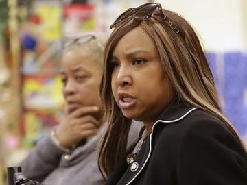 HUD Regional Administrator Lynne Patton conducts a town hall meeting at Queensbridge Houses in New York City, March 2019.