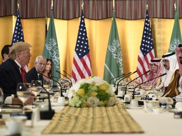 President Donald Trump meets with Saudi Arabia Crown Prince Mohammed bin Salman during a working breakfast on the sidelines of the G-20 summit in Osaka, Japan, Saturday, June 29, 2019.