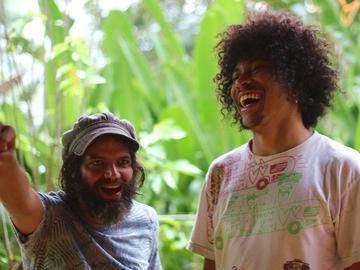 Guaxe Brazilian psych rockers Dino Almeida (Boogarins) and Pedro Bonifrate (Supercordas)