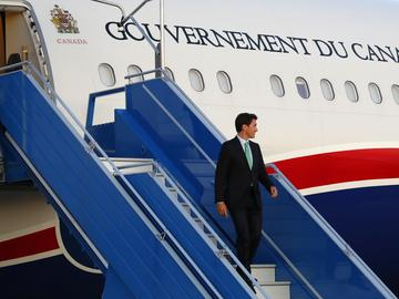Canadian Prime Minister Justin Trudeau arrives at the airport in Biarritz, France Friday, Aug. 23, 2019.