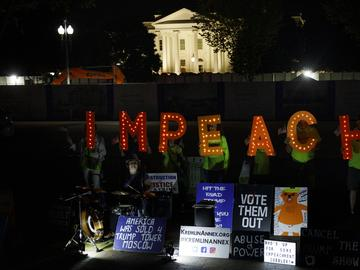 Protesters with 'Kremlin Annex' call to impeach President Donald Trump in Lafayette Square Park in front of the White House in Washington, Tuesday, Sept. 24, 2019.