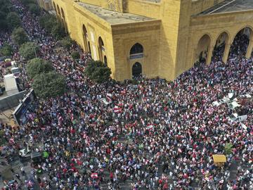 An aerial view shows an anti-government protest, in downtown Beirut, Lebanon, Sunday, Oct. 20, 2019.