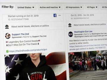 This photo shows a search for political ads that were on Facebook displayed on a computer screen Thursday, Oct. 31, 2019, in New York.