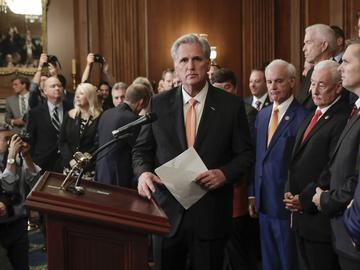 House Minority Leader Kevin McCarthy of Calif., center, is joined by fellow Republican lawmakers as he walks up to the podium to begin speaking during a news conference on Capitol Hill, Oct. 31, 2019.
