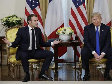 President Donald Trump meets French President Emmanuel Macron at Winfield House, Tuesday, Dec. 3, 2019, in London.