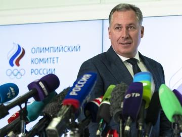 President of the Russian Olympic Committee Stanislav Pozdnyakov speaks during a news conference in Moscow, Russia, Monday, Dec. 9, 2019.