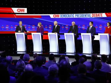 Democratic presidential primary debate hosted by CNN and the Des Moines Register in Des Moines, Iowa.