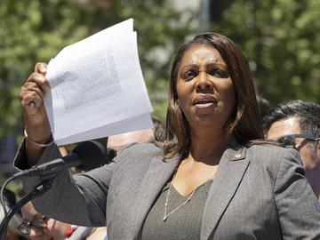 New York Attorney General Letitia James talks at a news conference about the Supreme Court's decision to deny a citizenship question on the 2020 census, Thursday, June 27, 2019 in New York.