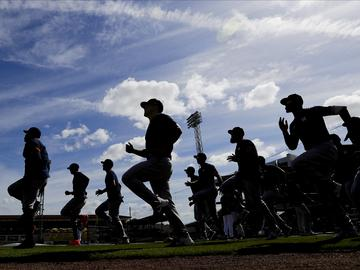 The Houston Astros warm up before a spring training baseball game against the Detroit Tigers Monday, Feb. 24, 2020, in Lakeland, Fla.