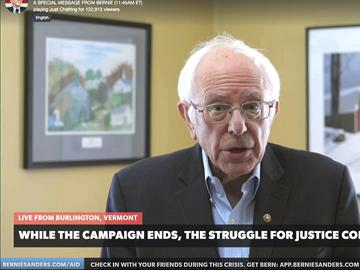 This image from video provided by the Bernie Sanders presidential campaign shows Sen. Bernie Sanders, I-Vt., as he announces he is ending his presidential campaign Wednesday, April 8, 2020.