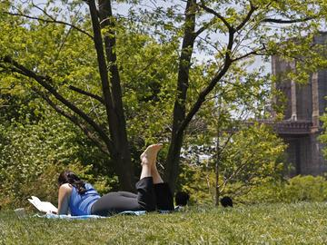 A woman reads a book while lying in the grass at Brooklyn Bridge Park during the current coronavirus outbreak, Sunday, May 17, 2020, in New York.
