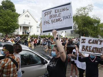 Hundreds of protesters gather Tuesday, May 26, 2020, near the site of the arrest of George Floyd, who died in police custody Monday night in Minneapolis.