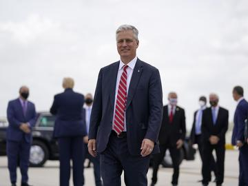 White House national security adviser Robert O'Brien arrives at Miami International Airport on Friday, July 10, 2020, as he joins President Donald Trump on a trip to Florida.