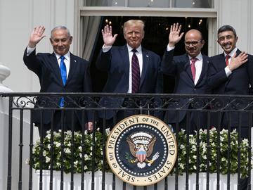 Israeli Prime Minister Benjamin Netanyahu, left, President Donald Trump, Bahrain Foreign Minister Khalid bin Ahmed Al Khalifa and United Arab Emirates Foreign Minister Abdullah bin Zayed al-Nahyan.