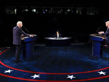 President Donald Trump and Democratic presidential candidate former Vice President Joe Biden participate in the final presidential debate at Belmont University, Thursday, Oct. 22, 2020, in Nashville.