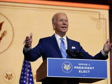 President-elect Joe Biden speaks Wednesday, Nov. 25, 2020, in Wilmington, Del.