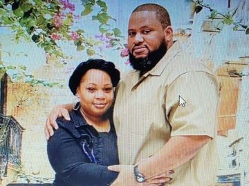 Michelle Harris with her husband, Al. Al tested positive for COVID-19 inside Fort Dix.