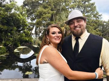 This image released bu Jordan Tyler shows Tyler, right, with his wife Brittany in New Orleans on July 18, 2020. The couple signed up for Match.com, started texting March 18 and were wed by July.
