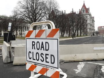 State Street is blocked off for more hardened security at the New York state Capitol, Monday, Jan. 11, 2021, in Albany, N.Y.