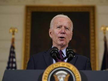 President Joe Biden speaks about the economy in the State Dinning Room of the White House, Friday, Feb. 5, 2021, in Washington.