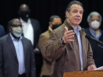 In this Wednesday, Feb. 24, 2021, file photo, New York Gov. Andrew Cuomo speaks during a press conference before the opening of a mass COVID-19 vaccination site in Queens, N.Y.