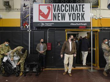 New York Gov. Andrew Cuomo arrives to a COVID-19 vaccination site in the Brooklyn borough of New York, Monday, Feb. 22, 2021.