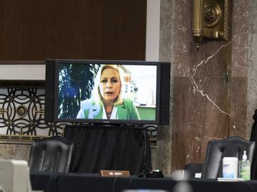 Sen. Kirsten Gillibrand, D-N.Y., speaks remotely during a hearing to examine United States Special Operations Command and United States Cyber Command.