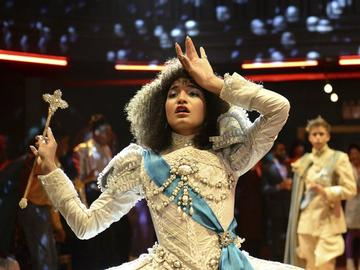 This image released by FX shows Indya Moore as Angel in a scene from the new series 'Pose,' airing Sundays on FX.