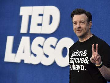 Jason Sudeikis arrives at the premiere of the second season of 'Ted Lasso' on Thursday, July 15, 2021, at the Pacific Design Center.