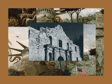 Stark, black and white photo of the Alamo. The image is set into a frame featuring The Experiment's show art.