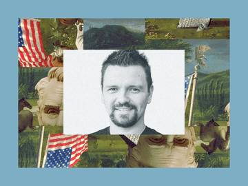 A black-and-white posed photo of The Babylon Bee's editor in chief, Kyle Mann, is set into a frame featuring The Experiment's show art.