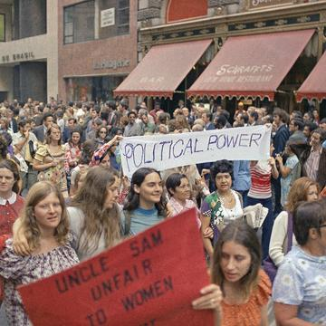 Women's liberation rally in New York City, on Fifth Avenue, Aug. 26, 1971.