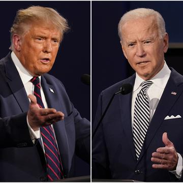 A split screen picture of President Donald Trump and former Vice President Joe Biden