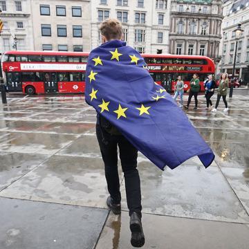 man, brexit, european union, flag, london