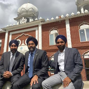 Bhalla, Grewal and Singh outside the Glen Rock Gurudwara, where they grew up.