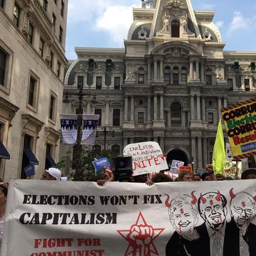 Demonstrators march in downtown Philadelphia during the 2016 Democratic National Convention.