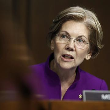 In this Nov. 28, 2017 file photo, Sen. Elizabeth Warren, D-Mass., speaks during a Senate Banking, Housing, and Urban Affairs Committee hearing on Capitol Hill in Washingto