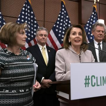 House Speaker Nancy Pelosi, D-Calif., speaks at an event to introduce the 'Climate Action Now Act,' at the Capitol in Washington, Wednesday, March 27, 2019.