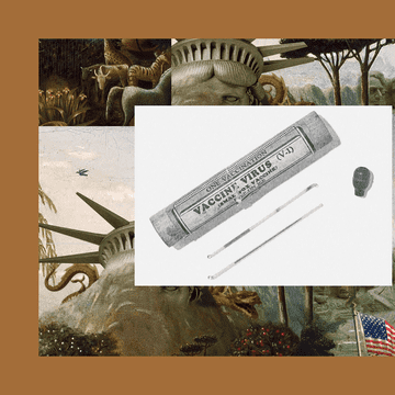 A photo of a smallpox vaccine, including two glass vials and the cylindrical container that originally held them.