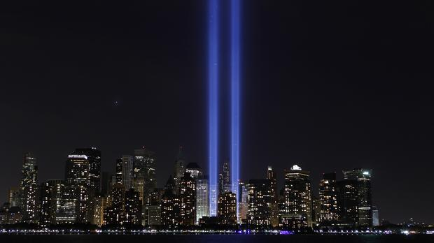 'Tribute in Light' illuminates the sky over lower Manhattan on the ninth anniversary of the attack on the World Trade Center in New York, Sept. 11, 2010.