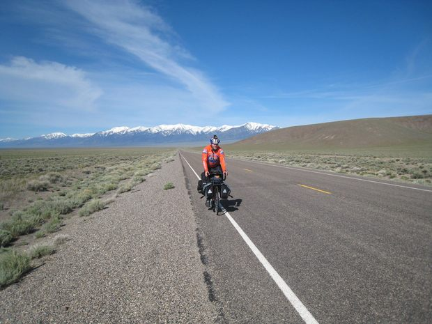 Jeff Viniard on a cross-country bike trip.