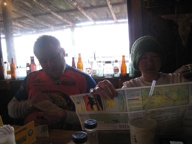 Jeff Viniard and Sookyoung Lee at a restaurant