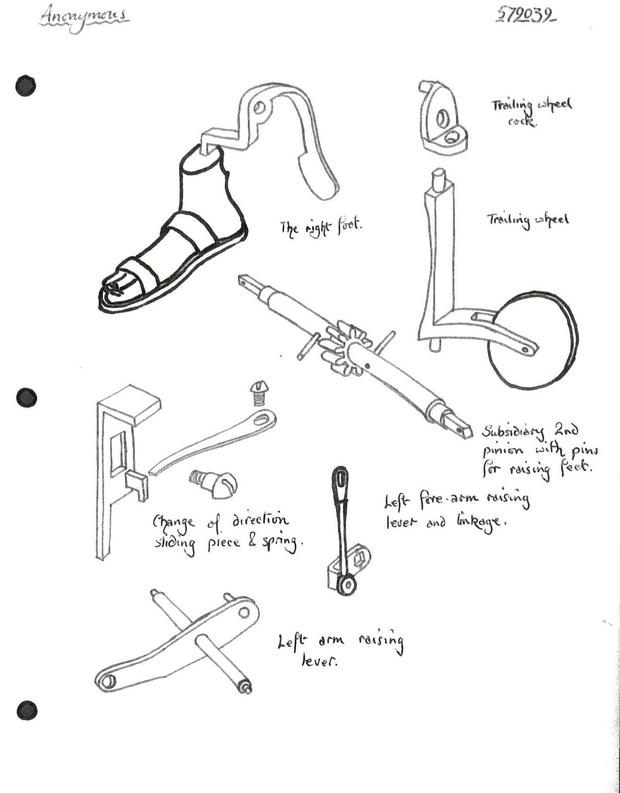 Components of the internal mechanism of the monk. Parts for foot stepping motion, and left arm movement