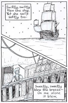 Page 6-14: As the ship propels itself across the ocean, a sweet breeze draws the Mariner's gaze outward, and he turns his attention from the unsettling sight of his dead comrades staring at him.