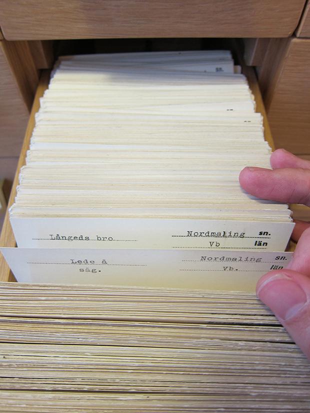 Card catalogue in Stockholm, Sweden.