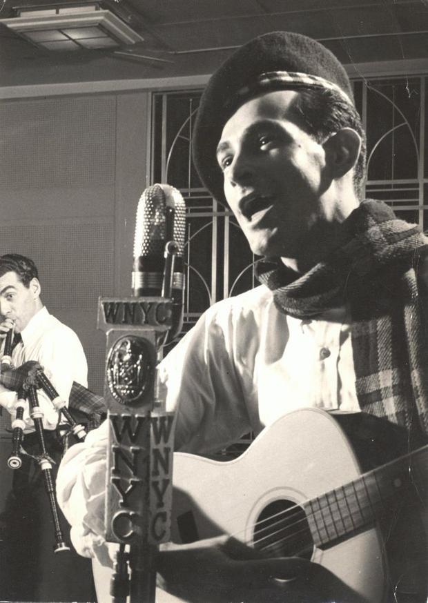 Oscar Brand in the studio, 1945