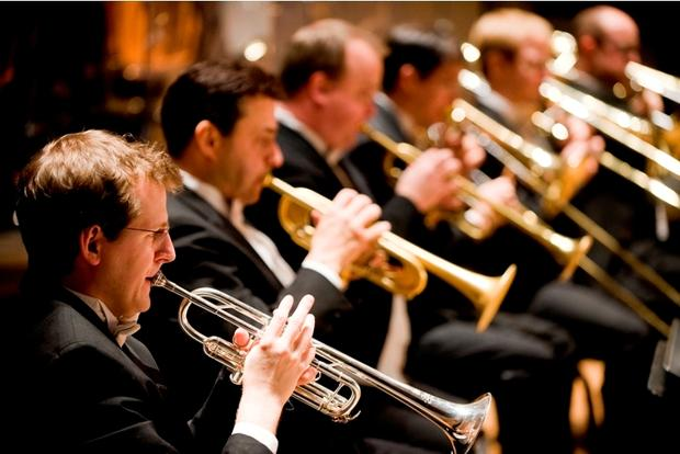 Brass players from the Oregon Symphony