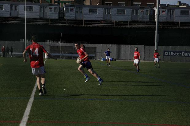 In Gaelic football, players can handle the ball with their hands.