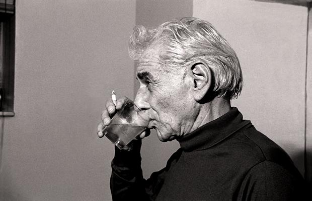 Leonard Bernstein in a Carnegie Hall dressing room November 17, 1985.